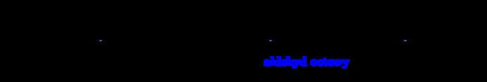 \schemestart \chemname{\chemfig[][scale=0.75]{C_6H_{12}O_6}}{glukoza}\arrow{->}\chemname{\chemfig[][scale=0.75]{CH_3-C(=[2]O)-C(=[2]O)-OH}}{kwas pirogronowy}\arrow{-U>[][\chemfig{CO_2}]}\chemname{\chemfig[][scale=0.75]{CH_3-C(=[2]O)-H}}{\color{blue}aldehyd octowy}\arrow{->}\chemname{\chemfig[][scale=0.75]{CH_3-C(-[2]H)(-[6]H)-OH}}{alkohol etylowy} \schemestop\par