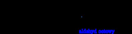 \schemestart \chemname{\chemfig[][scale=0.75]{CH_3-C(-[2]H)(-[6]H)-OH}}{alkohol etylowy} \chemsign{+} \chemfig[][scale=0.75]{\frac{1}{2}O_2} \chemfig[][scale=0.75]{[O]}\arrow{->}\chemname{\chemfig[][scale=0.75]{CH_3-C(=[2]O)-H}}{\color{blue}aldehyd octowy} \chemsign{+} \chemfig[][scale=0.75]{H_2O} \schemestop\par