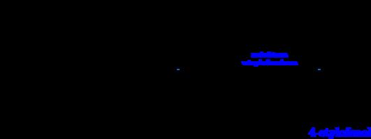 \schemestart \chemname{\chemfig[][scale=0.5]{*6(-(-(=[:330]-[:270](-[:225]OH)=[:315]O))=-=(-OH)-=)}}{kwas p-kumarynowy}\arrow{->[\parbox{5cm}{\centering \tiny dekarboksylaza\\cynamonowa}]}[,1.6]\chemname{\chemfig[][scale=0.5]{ *6(-(-(=[:330]CH_{3}))=-=(-OH)-=)}}{4-winylofenol}\arrow{->[\parbox{5cm}{\centering \tiny \color{blue}reduktaza\\winylofenolowa}]}[,1.6]\chemname{\chemfig[][scale=0.5]{ *6(-(-(-[:330]CH_{3}))=-=(-OH)-=)}}{\color{blue}4-etylofenol} \schemestop\par